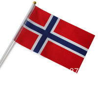 Free shipping small National flags Norway with pole, size about 14*21cm, polyester material