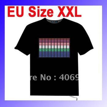 EL Panel Flashing Sound Activated Equalizer Flashing Music LED T-Shirt Size XXL Free shipping  Dropshipping