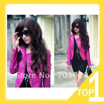 Fashion Womens Korea Sexy Leather Hot pink Ladies leather Jacket Coat Fur Clothing (Drop shipping) Y3008