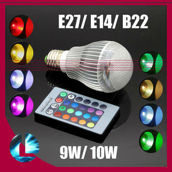 E14/E27/GU10/B22 9W/10W RGB LED Lamp multiple colour led lighting Spot light With Remote Control AC100-240V free shipping