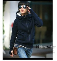 Wholesale and retail new winter explosion models are sets of finger collar hooded sweater coat color code four female models