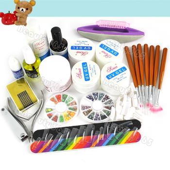 Free Shipping Professional Nail Art Kit Full Set Acrylic Manicure UV Gel DIY Sparkle Tips Polisher Brushes 1567