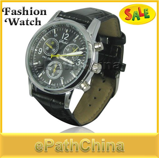 Sale! Fashion Good Quality Black Leather Quartz Watch Wristwatches for Men Clock, Free shipping/Wholesale/Drop shipping!(China (Mainland))