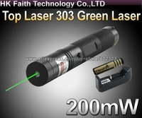 Top Laser 303 200mW Green Laser Pointer Adjustable Focal Length and with Star Pattern Filter WITH 4000mah 18650 battery +charger