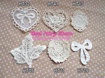 Wholesale Cloth Paste Fabric Paste, DIY Lace Decoration, Flower design 30pcs/lot Mix design acceptable