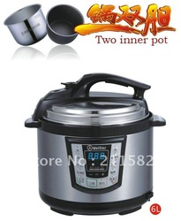 LED 6LWGZ60-100 Two inner pot,cooker,electric pressure cooker,pressure cooker recipes(China (Mainland))