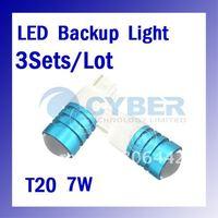 Wholesale 3Sets/ Lot  2*T20 High Power Cree Q5 7W Car LED Reverse Light Backup Bulb Free Shipping