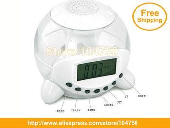 China Post Free Shipping 4pcs/lot, Novelty gift item Seven color transform natural sound alarm clock /LED electric clock,magic