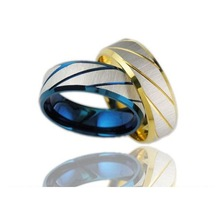 Fashion Jewelry 316L Stainless Steel Rings Silver Blue Twill Dull Polish Couple Rings Wedding Rings Engagement Rings GJ196