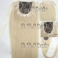 retail free shipping free shipping 18''-34''100% human hair horstail ponytail clips in/on hair extension #60,100g