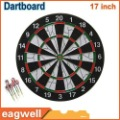 Free Shipping 17inch Double-side flocking thicker Dartboard 40.6cm x32.5cm Free 6 darts + 1 dart board.