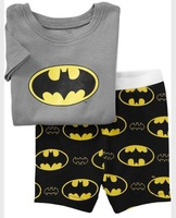 PS90, 2013 Free Shipping, Black Bat, Wholesale Baby/Children 100% Cotton Rib short sleeve pajamas/sleepwear sets for 2-7 year.