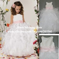Hot Sell Real Princess White With Pink Sash Ball Gown Flower Girl Dress for Weddings 2013 GR260