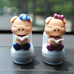 Free Shipping Car doll/New Cute Solar ABS Resin Multicolor Pig Parent Mini Toilet doll Car&Auto Accessories(China (Mainland))