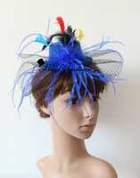 Mini Top Hat Fascinator Veil  & Feathers Burlesque Victorian New 12 pcs/lot  6color free shipping