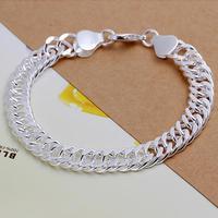 """FSH102 Fashion 8.0"""" 10mm Men's 925 Silver Bracelets Curb Chain Bracelet Wholesale Men's Jewelry 925 Sterling Silver Jewelry"""