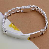 """FSH181 Men's 925 Sterling Silver ID Bracelet Curb Chain 10mm 8.3"""" Wholesale Fashion Men's Bracelet 925 Sterling Silver Jewelry"""