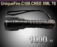 DHL,50pcs/lot,UniqueFire C108 CREE T6 1000LM 5-Mode LED Flashlight Torch