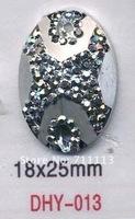 18*25 MM Resin stones,Rhinestone Flatback Elliptic stone gun metal black diamond shoes accessories sold 500pcs/lot Free shipping
