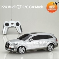 Promotion!!!Free shipping 1:24 scale 4CH Audi Q7 Radio control Cars toy | battery power car rc model car(white&black&silver)