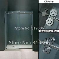 Free shipping frameless sliding glass shower door full set 304 stainless steel hardware roller