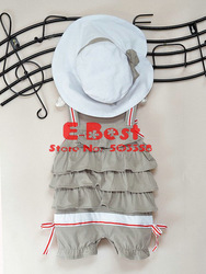 [E-Best] Free shipping!4 sets baby girl Belted Tank cupcake design romper+ sun hat 2pcs girls summer suits E-SSW-010(China (Mainland))