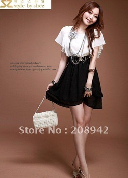 Best selling   2012 spring summer new the new Korean Women Lace mixed colors flounced chiffon dress ,discount