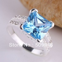 eLuna 9x9mm Square Stone YIN Gift for Mother blue Topaz Silver Ring Size 6 Women Fashion J7814