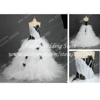 RA280 Free Shipping Real Bridal Ruffles Organza White And Black Wedding Dresses