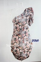 Best selling  Women in summer 2012 in Europe and America sexy retro floral shoulder oblique Slim package hip dress ,discount