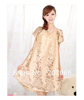 2012 new summer short sleeve lovely silk personality feeling nightgown princess ms of Japanese household to take the color lotus