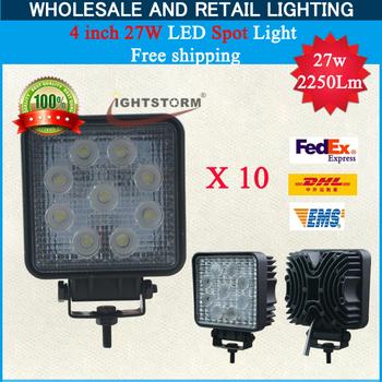 Big promotion~10pcs/lot~10~30V DC27w Square type led work lamp,flood beam ,work light,2100Lm led working lamp~Free Delivery~!!