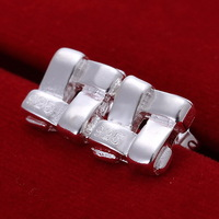 ES033 Silver Plated Earring Square Cross Fashion Stud earrings Ear Studs Jewelry Free shipping Retail Mix