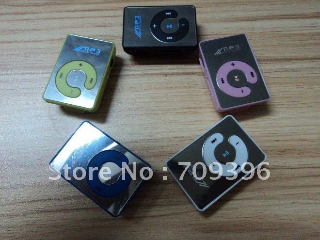 Hot SELL 10pcs/LOT Mini Clip Mp3 Player,+USB cable +earphone, Mirror Mp3, can support top 8GB Micro sd (TF) card +free shipping(China (Mainland))