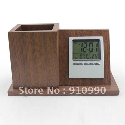 Wood Pen Container Digital Desk Alarm Clock for Free Shipping
