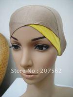 lz002  Muslim black  long Shawel with inner Cap Silk shawel new design islamic scarves Accept