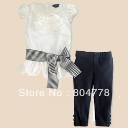 Free shipping by EMS! Wholesale - girl's outfit short sleeve blouse shirt+black legging/pant kid's cloth sets(China (Mainland))