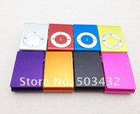 Free DHL 200pcs metal clip MP3 mini clip mp3 player with TF slot only MP3 8 colors