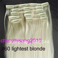 22inch 55cm 7pcs  clip in on real human hair extensions #60 lightest blonde,80g