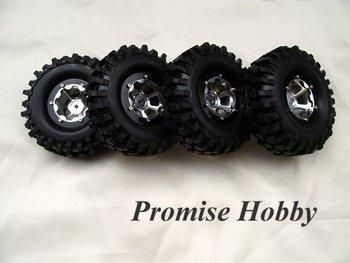 alloy beadlock 1.9 wheel & crawler tire tyre for rc rock crawler car buddies -4pcs