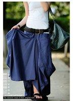 Women Original Design Fashion Irregular Linen Long Skirt with 2 Pockets,Free Shipping