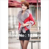 2014 Lady Genuine Sheepskin Leather Jacket Coat with silver Fox Fur Collar Winter Women Fur Outerwear Coats Garment VK0019