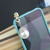 Free shipping IP007 pretty imitation pears anti dust ear cap Smartphone Earphone Jack Accessory