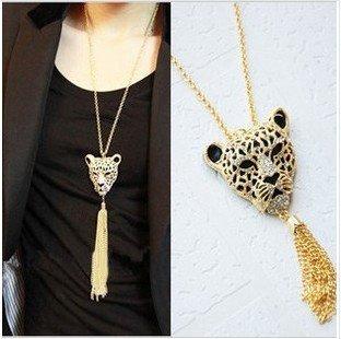N009  Retro Vintage Fashion leopard style tassel  Pendant necklace necklaces B2.9