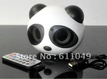 Remote Mini cute portable Panda Stereo  SD/MMC Card FM Radio Speaker for PC Computer Laptop notebook mobile mp3 mp4 MP5