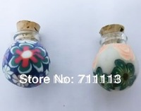 1ml Colour perfume bottle Round Glass Spell Bottle Pendant necklace perfume pendant suitable for oils, perfumes free shipping