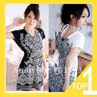 2014 Free Shipping Women's Dress 2 Colors  Ice Cotton V-neck Sleeveless dress Y3096