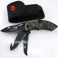 New Multi Functional OAK Treestand Camo Three Blade Folding Knife Hunting Knives