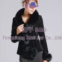 BG5898 2 Colors Genuine Pig Leather Jacket with Fox Fur Collar Winter Women's Lovely Jackets Wholesale Retail Leather Jackets