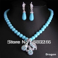 High Quality Rhodium Plated Promotion Fashion Crystal Blue Pearl Jewelry Set